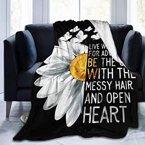 AEMAPE Manta Flor con Mariposa Manta Queen Throw Manta para Silla Cama para Adultos Colchoneta para Dormir de Doble Cara Funda de Franela para Invierno 50 'x 60'
