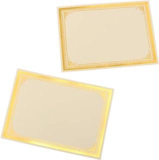 NUOBESTY Lot de 30 cartes de certificats de reconnaissance Bord or Papier A4 pour les prix de classe