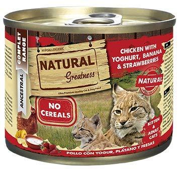 Natural Greatness Comida Húmeda para Gatos de Pollo con Yogur, Plátano y Fresas. Pack de 6 Unidades. 200 gr Cada Lata