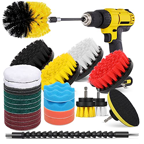 Hiware 26-Piece Drill Brush Set for Cleaning - Power Scrubber Brush Pad Sponge Kit with Extend Attachment for Bathroom, Car, Grout, Carpet, Floor, Tub, Shower, Tile, Corners, Kitchen