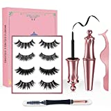 Magnetic Eyelashes with Eyeliner Kit - 5D Lashes Natural Look, 4 Pairs Date &Party Styles Natural Look Magnetic Lashes, Reusable, No Glue, Tweezers, eyebrow Brush/Lip Brush