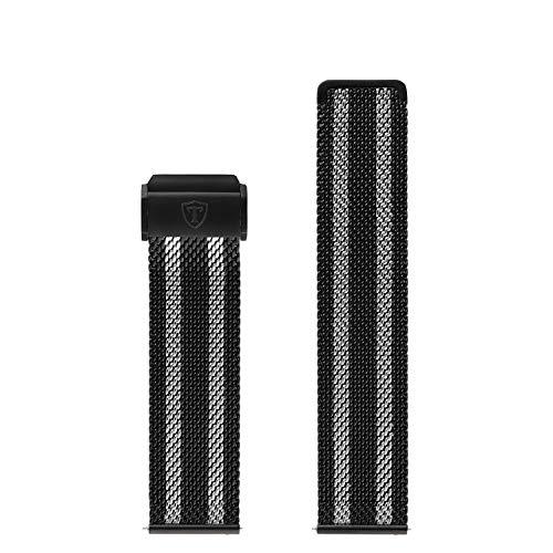 DETOMASO Uhrenarmband Milanaise Edelstahl-Armband 20mm 22mm 24mm mit Schnellwechsel Federsteg (22mm, Milanaise - Schwarz/Silber)