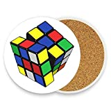 Rubiks Cube Coasters for Drinks 1-Piece Funny Absorbent Stone Ceramic Coasters with Cork Backing No Holder