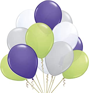 Latex Balloons Buzz Lightyear palette color theme decorations supplies complement 9 inch 24 pack green lime grey purpure w...