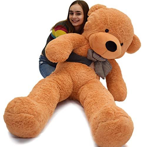 VERCART Teddybär Schönes Weihnachten Geschenk Plüschbär Riesen Gentleman Plüsch Bär Puppe Hellbraun XXL 200CM