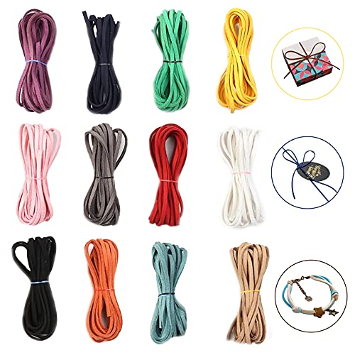 Cuerda De Cuero Gamuza 12 Piezas Cuerda Cuero Cordón Pulsera Cuerdas Cuero Redonda Para Colgante Cordón De Cuero Trenzado Cordón De Cuero Para Envolver Regalos Hacer Joyas (12 Colores)
