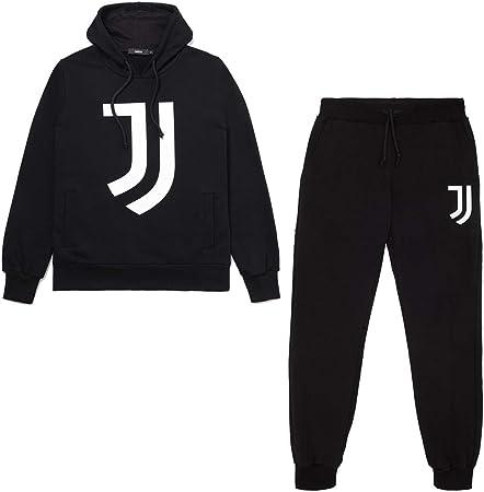 JUVE Juventus Tuta Uomo Black Hoodie - Collezione 2020/2021-100% Originale - 100% Prodotto Ufficiale - Colore Nero - Scegli la Taglia