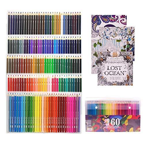 Aquarellstifte, Wasserlösliche Buntstifte For Die Art Students Professionals -Assorted 160 Farben For Sketch Ausmalbilder Mehrfarben malend Verwenden Malerei (Color : 160 Color)