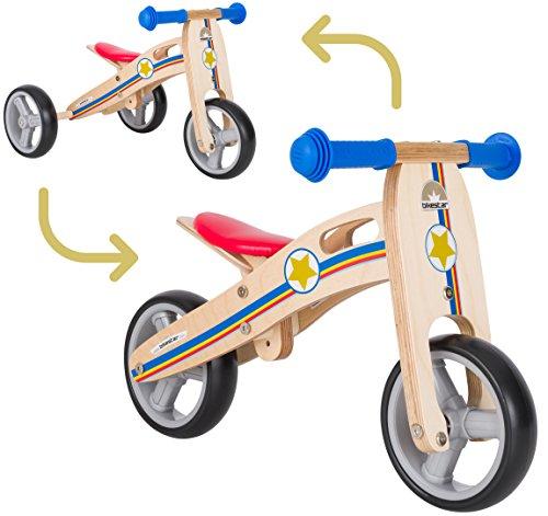 BIKESTAR Bicicletta Senza Pedali e Triciclo (2 in 1) in Legno per Bambino et Bambina da 18 Mesi  Bici Senza Pedali Bambini 7 Pollici  Blu