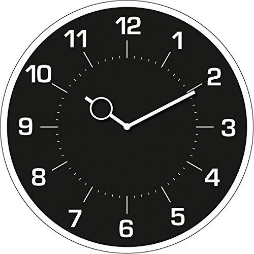 Wanduhr aus Glas, rund, Klassische schwarze Uhr, 30x30 cm von Eurographics
