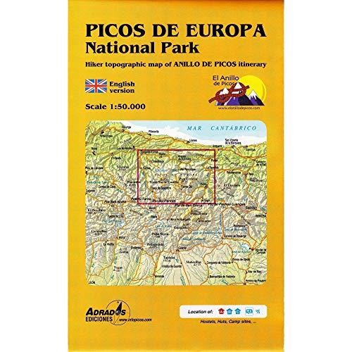 Parque Nacional de los Picos de Europa. Mapa topográfico excursionista: con el itinerario del Anillo de Picos
