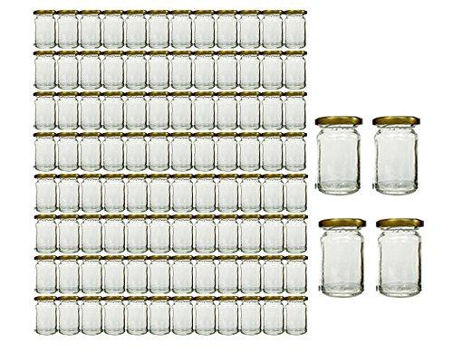 Vorratsgläser-Set mit Schraubverschluss Deckelfarbe Gold   100 teilig   Füllmenge 107 ml   Rundgläser Einmachgläser Marmeladengläser Honig, Gläser, Portionsgläser, Probiergläser, Imker