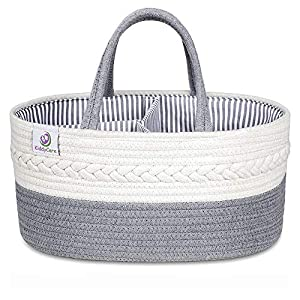 KiddyCare Baby Diaper Caddy Organizer – Stylish Rope Nursery Storage Bin 100% Cotton Canvas Portable Diaper Storage Basket for Changing Table & Car – Top Baby Shower Gift