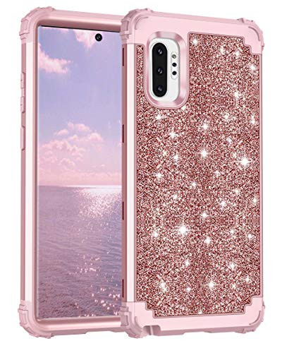 Lontect for Galaxy Note 10 Plus Case Luxury Glitter Sparkle Bling Heavy Duty Hybrid Sturdy High Impact Shockproof Protective Cover Case for Samsung Galaxy Note 10 Plus/5G, Shiny Rose Gold