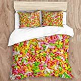 JHVL2 Duvet Cover Set,Sprinkles Jimmies Cake Ice Cream,Decorative 3 Piece Bedding Set with 2 Pillow Shams, King Size