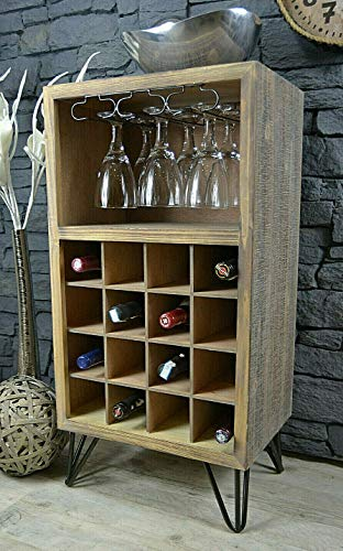 Livitat® Weinregal Weinschrank Flaschenregal H84 x B43 cm Vintage Bauhaus Retro LV5043