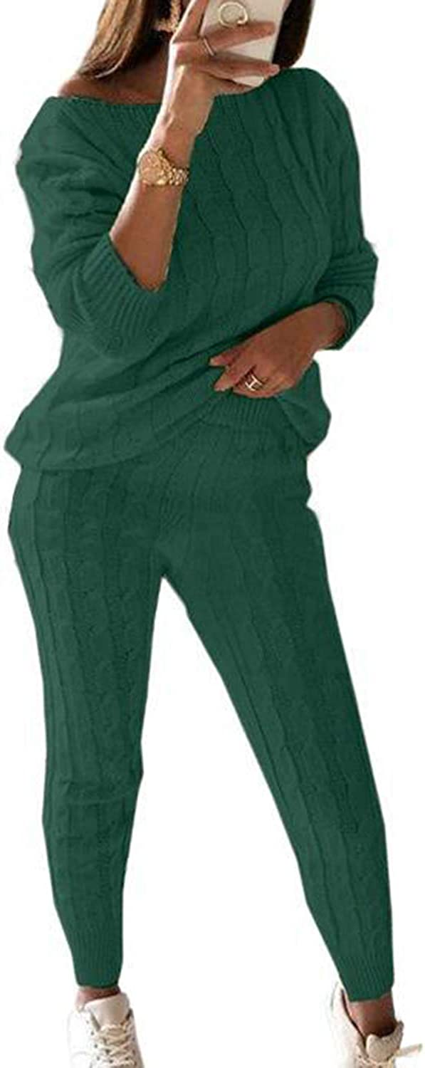 Women's Casual Solid 2 Piece Knitted Tracksuit Long Sleeve Sweater Pullover Jogger Sweatpants Active Lounge Sets Dark Green 4XL