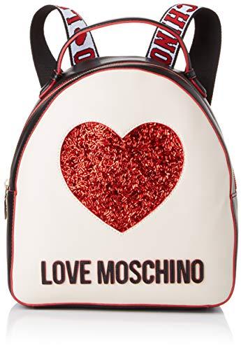 Love Moschino Nappa Pu Mix, Borsa a Zainetto Donna, Multicolore (Nero/Avorio), 15x10x15 cm (W x H x L)