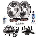 Detroit Axle - 8PC Front Wheel Hub Bearing Assemblies Brake Kit Rotors and Ceramic Brake Kit Pads w/Hardware & Cleaner Fluid Replacement for Ford F-150 Lincoln Mark LT - 4x4