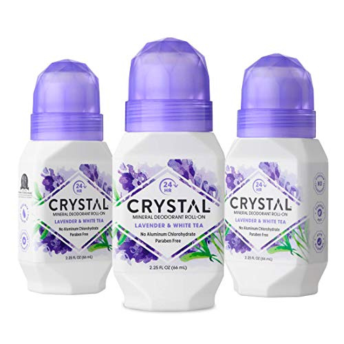 CRYSTAL Mineral Deodorant Roll-On Body Deodorant With 24-Hour Odor Protection, Non-Staining & Non-Sticky Deodorant with Lavender & White Tea, Aluminum Chloride & Paraben Free, 2.25 FL OZ - Pack of 3