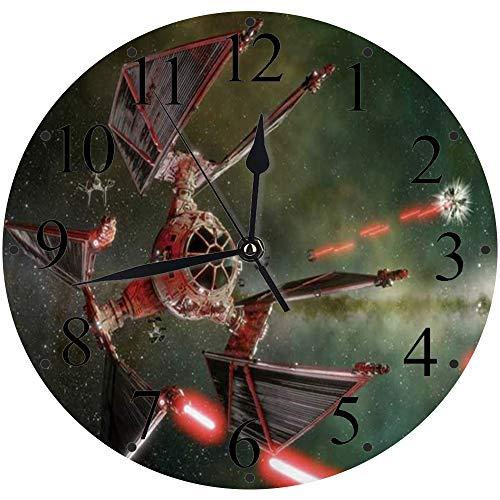 LUHUN Reloj de Pared Moderno,Star Wars Spaceship Satellite Diseño mecánico Creativo genialreloj de Cuarzo de Cuarzo Redondo No-Ticking para Sala de Estar 30 cm