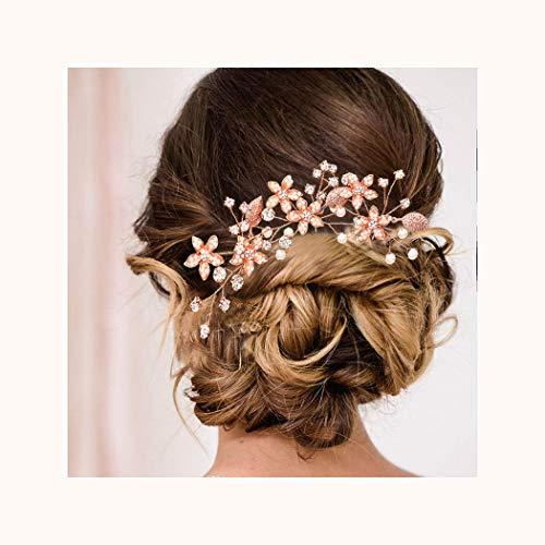 IYOU Pinzas para el pelo de novia diseño de flores y perlas de plata para novia diamantes de imitación de hojas accesorios para el cabello para mujeres y niñas (paquete de 3) (oro rosa)