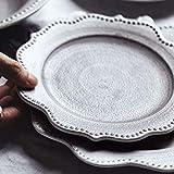 Yqs Vajilla Placa de cerámica Japonesa Vajilla Inicio Set Plano Creativo nórdica Retro Occidental de Gama Alta Personalidad duraderos Platos Vajilla Set (Color : Flat Plate)