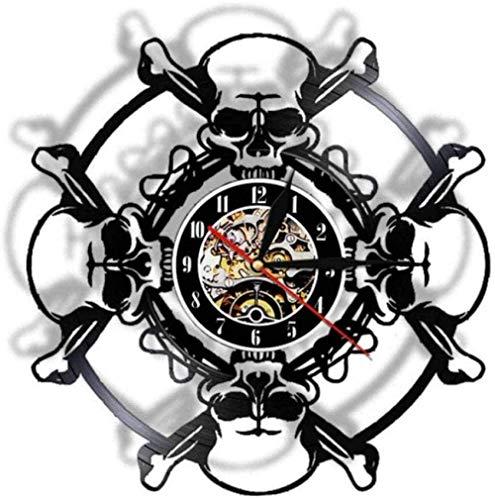 Reloj de pared Skull Head Vinyl Record Reloj de pared Retro Skull Reloj de pared Esqueleto Vampiro Hombre Halloween Inicio Arte de pared Reloj Reloj 12 pulgadas Reloj silencioso para sala de estar Dor