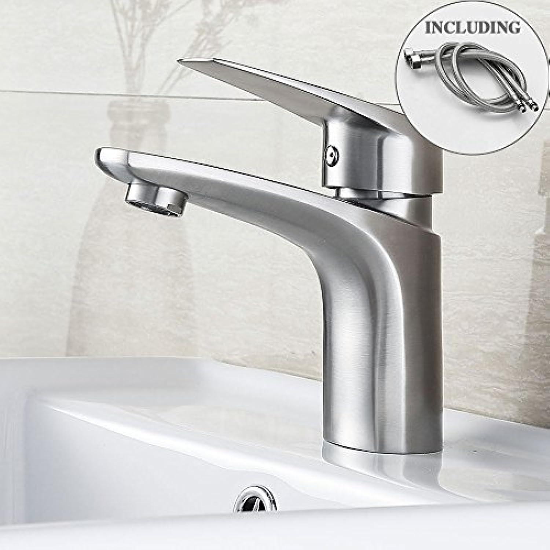 Retro Deluxe Fauceting BLH 525 Qualitt, Badezimmer aus gebürstetem Edelstahl SUS304 Waschbecken Wasserhahn warmes & kaltes Wasser Mischbatterie Torneira, mit Sanitr Schluche