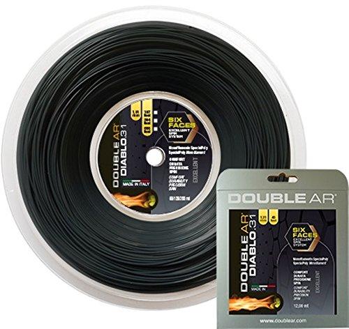 DOUBLE AR - Corda da Tennis Diablo 31, Monofilamento Co-Poliestere 1.31mm Nera. Set Singolo 12Mt