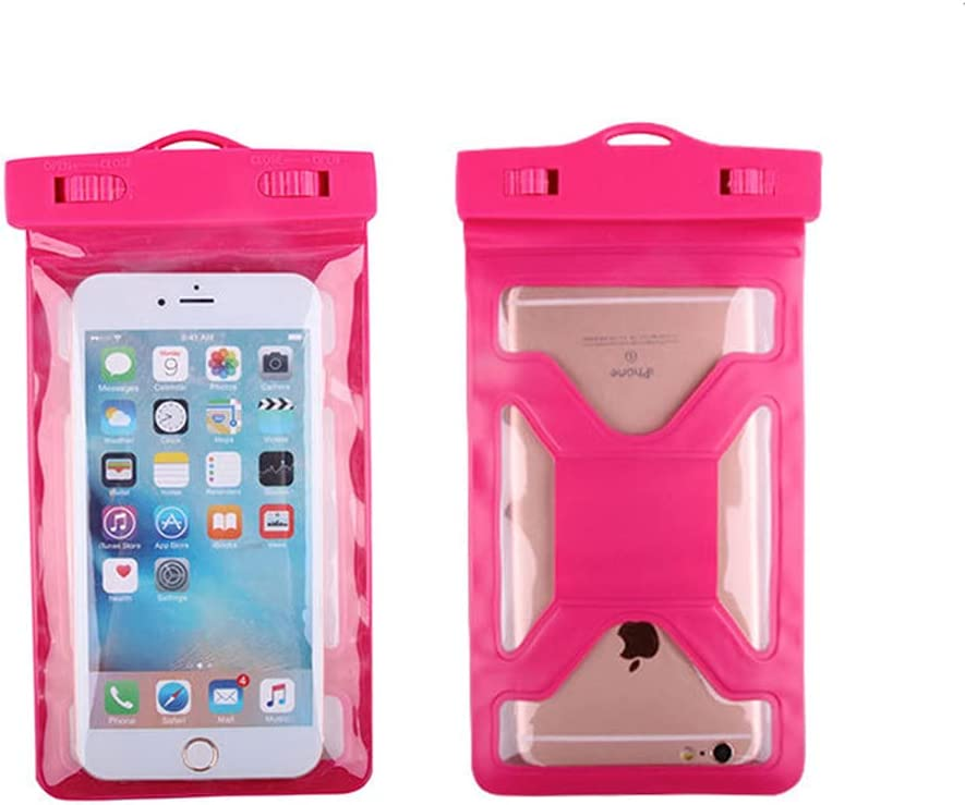 Gefag Mobile Phone Dry Bag with Arm Strap and Tether, Swimming Mobile Phone Waterproof Bag, Supporting Mobile Phone with Maximum Size of 7 Inches (Rose red)