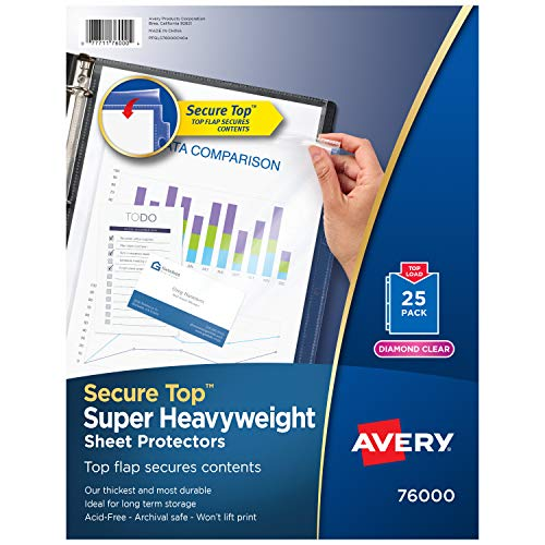 Avery 76000 Secure Top Sheet Protectors, Super Heavy Gauge, Letter, Diamond Clear (Pack of 25)