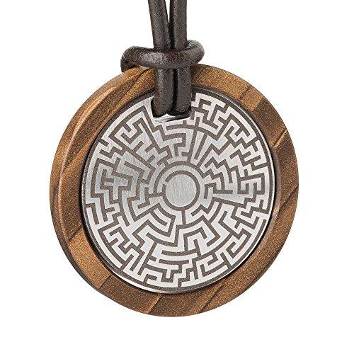Design collana con ciondolo in acciaio inossidabile grave/legno 54 cm K656, B, 54