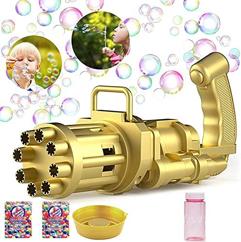 U N HUA Macchina per Bolle,Macchina per Bolle di Sapone Automatica con 8 buche Bubble Gun per Bolle per Compleanno Festa Nozze, Giochi al Coperto e all aperto(d oro)
