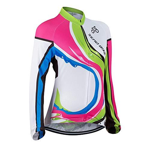 Donne Abbigliamento da Ciclismo, Traspirante Leggero e Comodo Maglie da Ciclismo, Asciugatura Rapida Manica Lunga, S, 005