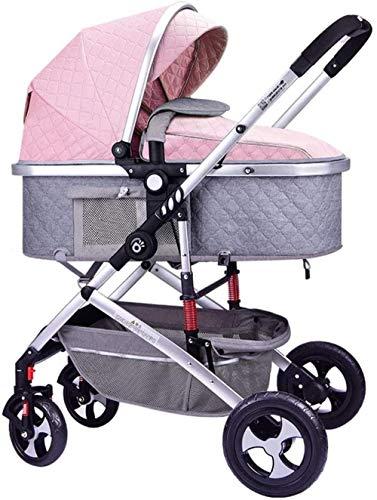 Landaus Poussette Poussette Transport, poussettes Buggy Compact, Portable Pram Transport Anti-Choc en Aluminium Poussette Fournitures pour bébé ( Color : Pink )
