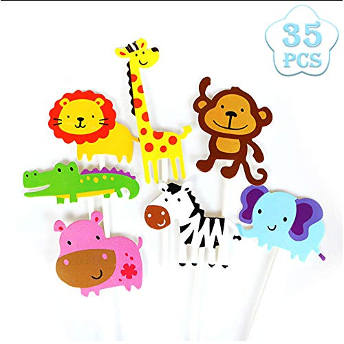 Seatek 35 Stück Zoo Cupcake Deko Dschungel-Themed Tier Kuchendeckel, Kinder Party Kuchen Dekoration Geburtstag Deko Party Gegenstände.
