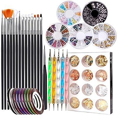 Newthinking Nail Art Design Tools, 47 PCS Nail Accessories Art Kit with Nail Painting Brushes, Nail Dotting Tools, Manicure Tapes, Color Rhinestones Perfect Girl Gift Set (Black)