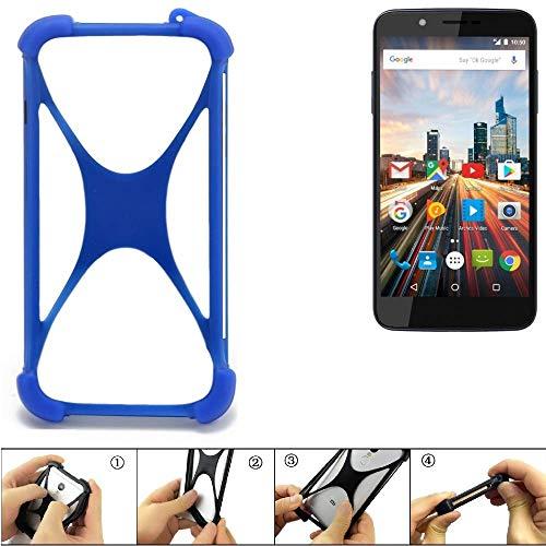 K-S-Trade® Handyhülle Für Archos 55 Helium 4Seasons Silikon Schutz Hülle Cover Case Bumper Silikoncase TPU Softcase Schutzhülle Smartphone Stoßschutz, Blau (1x),