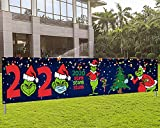 Grinch Christmas Decorations Merry Christmas Grinch 2020 Stink Stank Stunk Yard Sign Banner Christmas Quarantine Decorations for 2020 Merry Christmas Outdoor Decorations (Navy Blue)