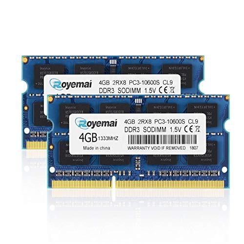PC3-10600S DDR3 1333mhz 4GBx2枚 ノートPC用メモリ モジュール 1.5V 204pin CL9 Non-ECC SO-DIMM Mac 対応