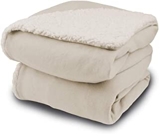 Biddeford Comfort Knit Electric Heated Throw Blanket with Natural Sherpa Off-White