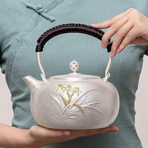 HMXCC olla de plata esterlina S999 Golden Orchid Kettle Home Silver Pot Tea Set hervida agua hervida hervida