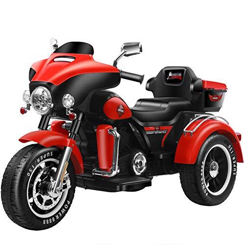 QqHAO Kinder Harley Elektromotorrad Dreirad männlich und weiblich Baby Batterie Doppelantrieb Kinderwagen groß kann doppelt sitzen,Rot