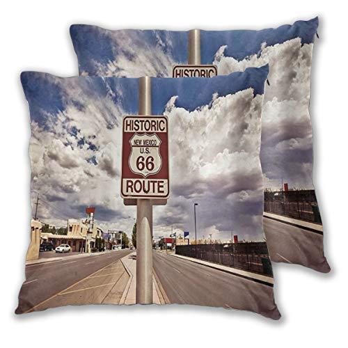 MOBEITI Juego de 2 Decorativo Funda de Cojín Route 66 Street Sign en la histórica Ruta 66 en el Desierto de Mojave Imprimir Funda de Almohada Cuadrado para Sofá Cama Decoración para Hogar,60x60cm