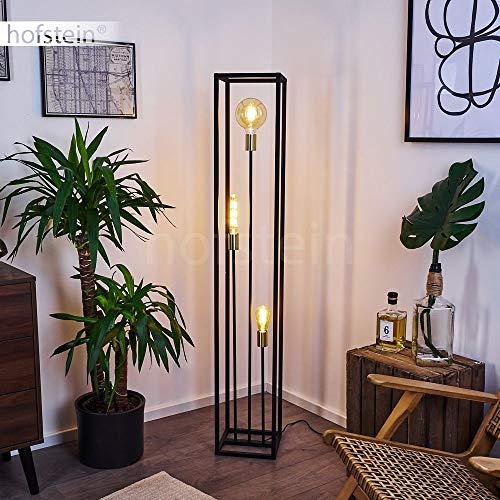 Stehleuchte Woden, Bodenlampe aus Metall in Schwarz und Messingfarben, 3-flammige Industrial Look Standlampe mit Lichteffekt, 3 x E27 max. 10 Watt, Fußschalter am Kabel
