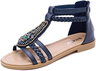KemeKiss Women Open Toe Sandals T-Strap Flats
