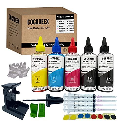 COCADEEX Kit de recambio de tinta compatible con cartuchos de tinta Hp 650xl 351XL 350XL 300XL 901XL 62XL 21XL 22XL Series, 5 botellas de tinta con herramientas de recambio (2BK 1C 1M 1Y)