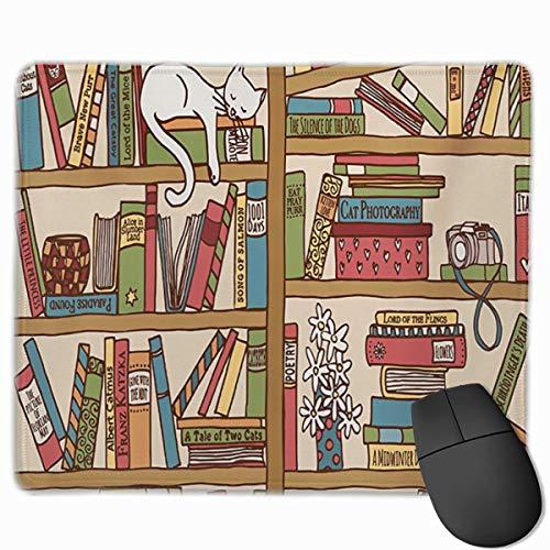 Nerd Book Lover Kitty Slapen Over Boekenplank in Bibliotheek Gepersonaliseerd Ontwerp Mouse Pad Gaming Mouse Pad met gestikte randen Mousepads, Anti-slip Rubber Base, 9.8x12 Inch, 3mm Dikke - Beste Gift Idee