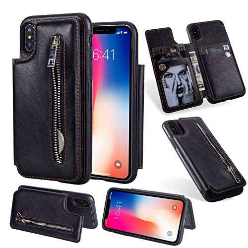 Jennyfly iPhone 7 Wallet Case, Fashion Zipper Magnetic Closure Wallet Design Premium Durable Leather Zipper Protective Cover with Card Slots & Money Pocket for iPhone 7/8 4.7 Inch - Black